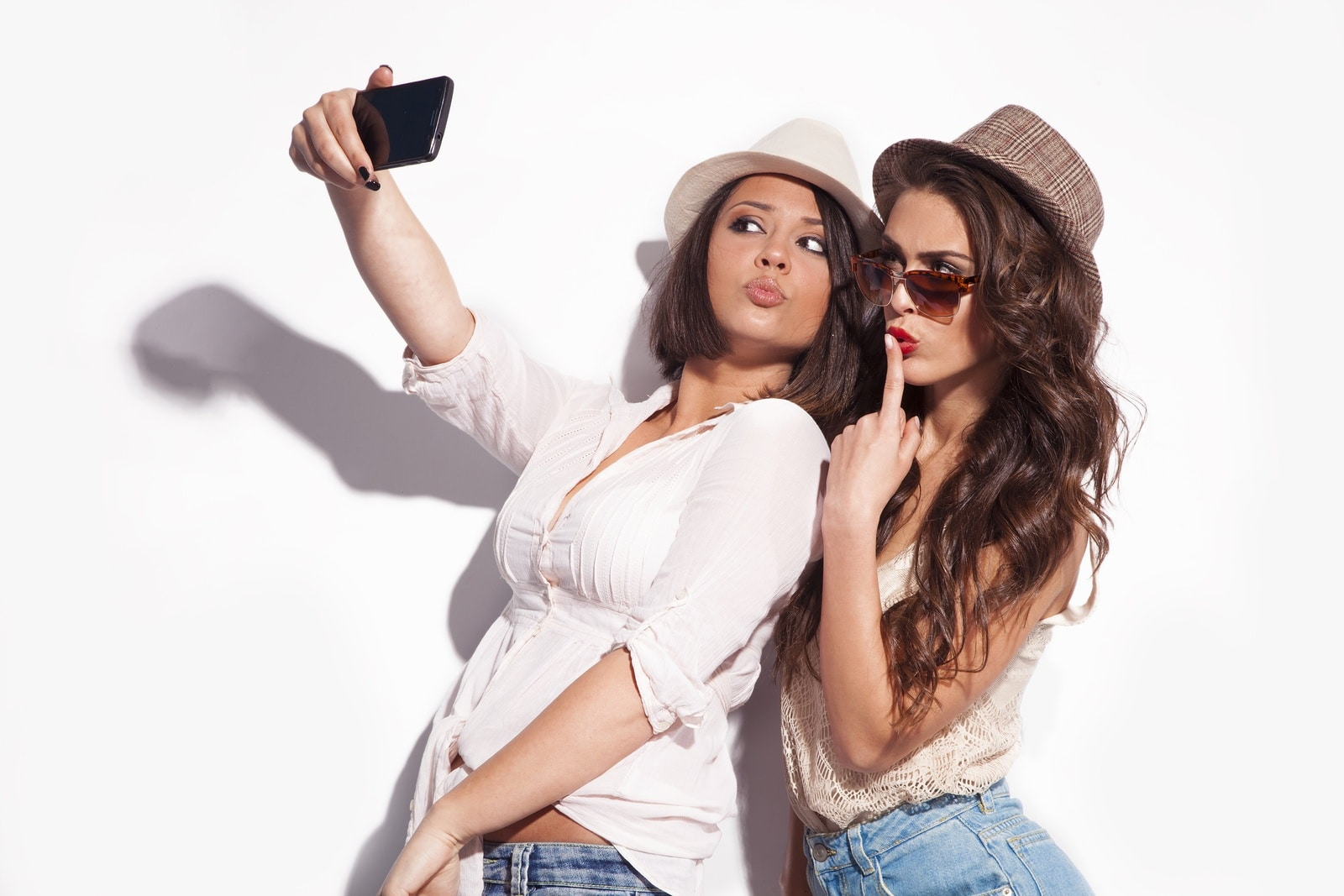 taking a selfie with a friend